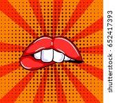 pop art red sexy lips. doodle... | Shutterstock .eps vector #652417393