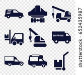 truck icons set. set of 9 truck ... | Shutterstock .eps vector #652435987