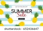 summer sale on pineapple... | Shutterstock .eps vector #652436647