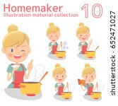 a homemaker cooks delicious food | Shutterstock .eps vector #652471027