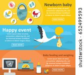 newborn baby banner horizontal... | Shutterstock .eps vector #652499593