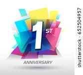 1 year anniversary with... | Shutterstock .eps vector #652504957