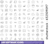 100 software icons set in...
