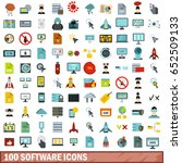 100 gps data icons set. flat... | Shutterstock .eps vector #652509133