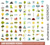 100 scenery icons set in flat... | Shutterstock .eps vector #652509247