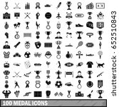 100 medal icons set in simple... | Shutterstock .eps vector #652510843