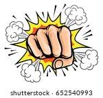 a pop art cartoon fist with a... | Shutterstock .eps vector #652540993