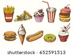 set of hand drawn fast food... | Shutterstock . vector #652591513