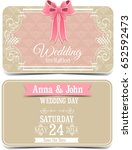 wedding cards with bow | Shutterstock . vector #652592473