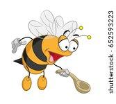 bee cartoon with spoon   Shutterstock .eps vector #652593223