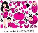 Vector Cute Baby Girl Set With...