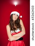 Beautiful Brunette Santa Woman...