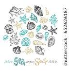 hand drawn doodle sea... | Shutterstock .eps vector #652626187
