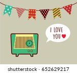 vintage radio i love you... | Shutterstock .eps vector #652629217