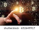 business woman clicks bitcoin... | Shutterstock . vector #652649917