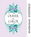 cute wedding invitation card... | Shutterstock .eps vector #652650613