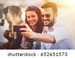 friends having fun outdoors and ... | Shutterstock . vector #652651573