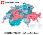 switzerland map and flag  ... | Shutterstock .eps vector #652658167