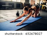 young woman on fitness workout... | Shutterstock . vector #652678027