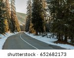 italian road in winter sunrise...   Shutterstock . vector #652682173