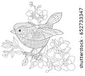 coloring book page of sparrow... | Shutterstock .eps vector #652733347