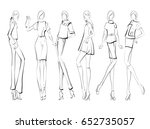 sketch. fashion girls on a... | Shutterstock .eps vector #652735057