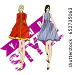 sketch. fashion girls on a... | Shutterstock .eps vector #652735063