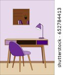 vector violet room  chair ... | Shutterstock .eps vector #652784413