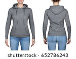 young girl in gray sweatshirt ... | Shutterstock . vector #652786243