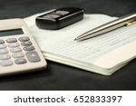 calculator  car remote and... | Shutterstock . vector #652833397