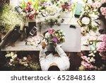 florist making fresh flowers...   Shutterstock . vector #652848163