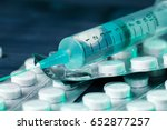 medical syringe on table with... | Shutterstock . vector #652877257