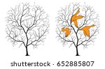 black silhouette of a tree on a ... | Shutterstock .eps vector #652885807