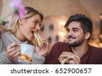 happy loving couple enjoying... | Shutterstock . vector #652900657