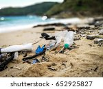 pollutions and garbages on the... | Shutterstock . vector #652925827