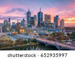 Small photo of Melbourne city skyline at twilight in Australia