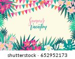 palm leaves  pink  white... | Shutterstock .eps vector #652952173
