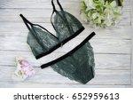women's lingerie on the wooden... | Shutterstock . vector #652959613