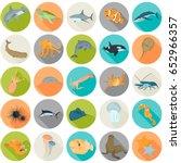 set of sea animals color flat... | Shutterstock .eps vector #652966357