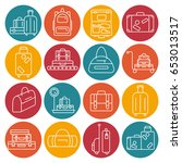 luggage icon set. backpack ... | Shutterstock .eps vector #653013517