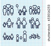 set of 9 father outline icons... | Shutterstock .eps vector #653016253
