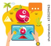 vector abstract virtual mobile... | Shutterstock .eps vector #653029963