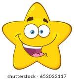 happy yellow star cartoon emoji ... | Shutterstock .eps vector #653032117