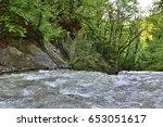 stream in forest  | Shutterstock . vector #653051617