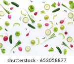 vegetables and fruits on a... | Shutterstock . vector #653058877