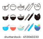 bowl  rice  chopsticks and... | Shutterstock .eps vector #653060233