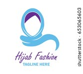 hijab logo with text space for... | Shutterstock .eps vector #653065603