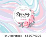 spring sale  banner design with ... | Shutterstock . vector #653074303