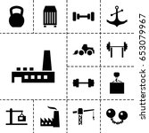 heavy icon. set of 13 filled... | Shutterstock .eps vector #653079967