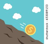 gold dollar coin rolling... | Shutterstock .eps vector #653089153